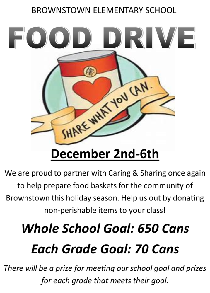 BES FOOD DRIVE DECEMBER 2ND-6TH