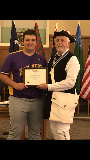 Lane Himes receives the Sons of the American Revolution Award