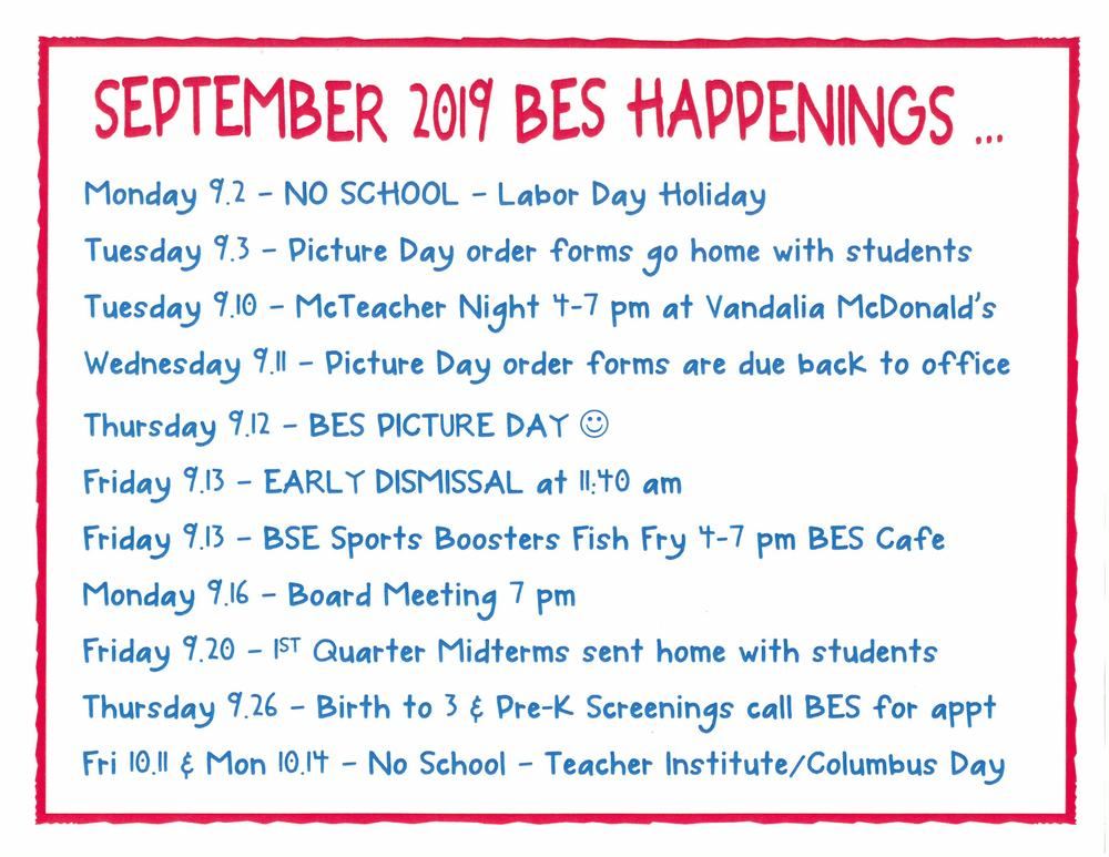 BES September Happenings