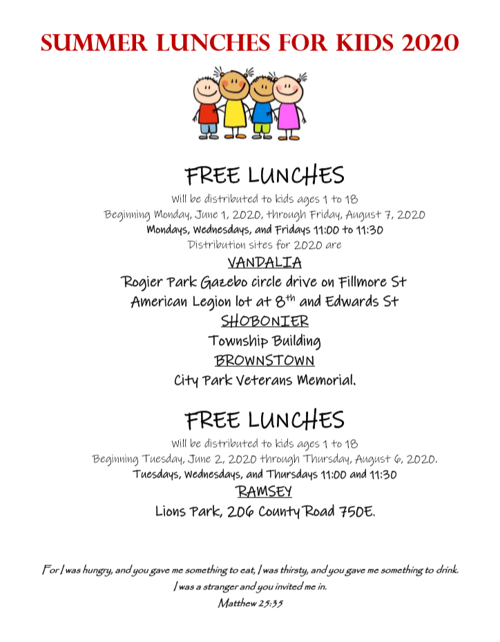 Free Summer Lunches for Kids at Brownstown City Park