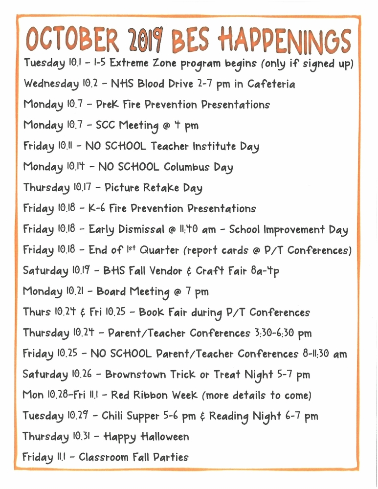BES OCTOBER HAPPENINGS