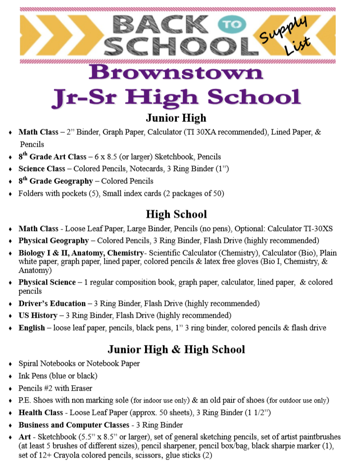 School Supply List for Jr High & High School